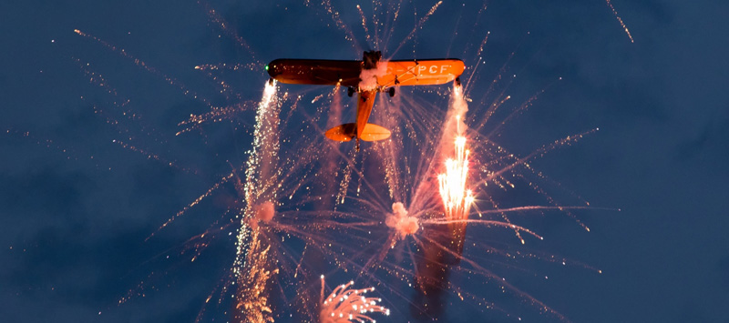 Piper J3 Cub: Crazy Flying and Twilight Pyrotechnic Spectaculars